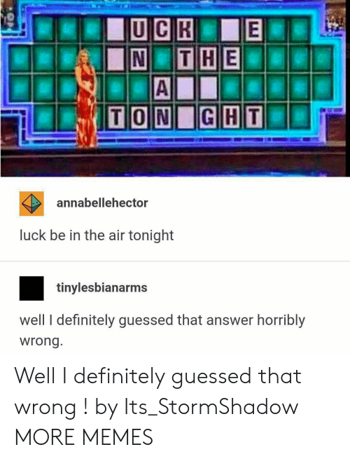 Dank, Definitely, and Memes: annabellehector  luck be in the air tonight  tinylesbianarms  well I definitely guessed that answer horribly  wrong Well I definitely guessed that wrong ! by Its_StormShadow MORE MEMES