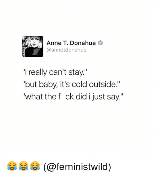 """Baby, It's Cold Outside: Anne T. Donahue  annetdonahue  """"i really can't stay.""""  """"but baby, it's cold outside.""""  """"what the f ck did i just say."""" 😂😂😂 (@feministwild)"""