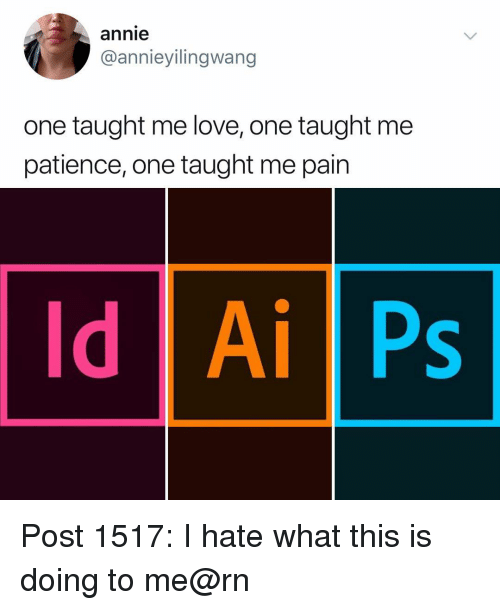 Love, Memes, and Annie: annie  @annieyilingwang  one taught me love, one taught me  patience, one taught me pain  Id Ai Ps Post 1517: I hate what this is doing to me@rn