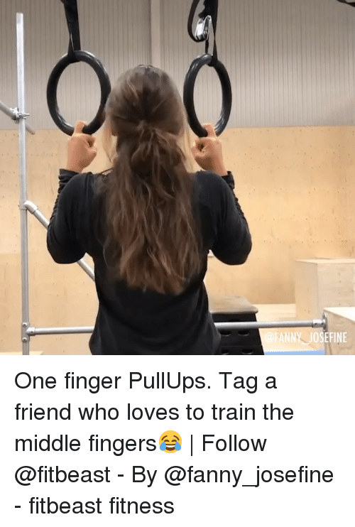 tag a friend: ANNY JOSEFINE One finger PullUps. Tag a friend who loves to train the middle fingers😂 | Follow @fitbeast - By @fanny_josefine - fitbeast fitness
