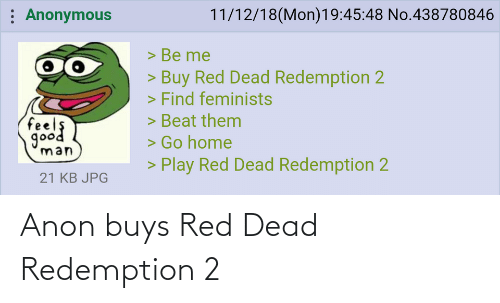 Buys: Anon buys Red Dead Redemption 2