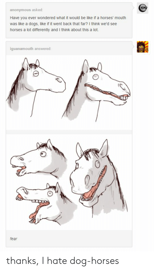Be Like, Dogs, and Horses: anonymous asked:  Have you ever wondered what it would be like if a horses' mouth  was like a dogs, like if it went back that far? I think we'd see  horses a lot differently and I think about this a lot.  iguanamouth answered  fear thanks, I hate dog-horses