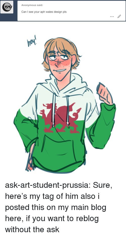 wales: Anonymous said:  Can I see your aph wales design pls ask-art-student-prussia:  Sure, here's my tag of himalso i posted this on my main blog here, if you want to reblog without the ask