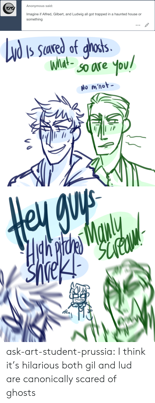 Prussia: Anonymous said:  Imagine if Alfred, Gilbert, and Ludwig all got trapped in a haunted house or  something   Nd  S Sared of ghosts.  What-  SO are  You!  No m'not   Hgh pitde Manly ask-art-student-prussia:  I think it's hilarious both gil and lud are canonically scared of ghosts