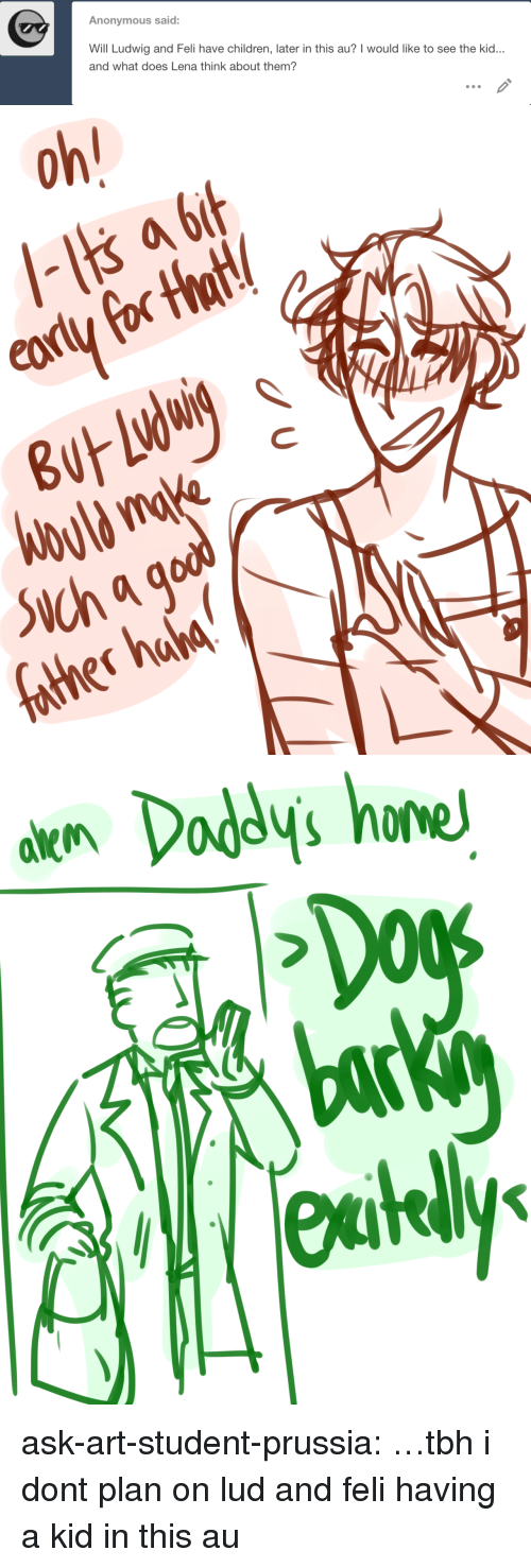Lena: Anonymous said:  Will Ludwig and Feli have children, later in this au? I would like to see the kid  and what does Lena think about them?   0  nahd   akn Dodys hone  bac  eutely ask-art-student-prussia:  …tbh i dont plan on lud and feli having a kid in this au