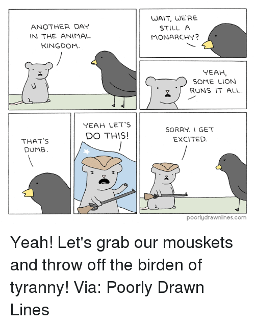 Thats Dumb: ANOTHER DAY  IN THE ANIMAL  KINGDOM.  YEAH LET's  DO THIS!  THAT'S  DUMB  WAIT, WERE  STILL A  MONARCHY?  YEAH  C SOME LION.  RUNS IT ALL  SORRY. I GET  EXCITED.  poorly drawnlines.com Yeah! Let's grab our mouskets and throw off the birden of tyranny!  Via: Poorly Drawn Lines