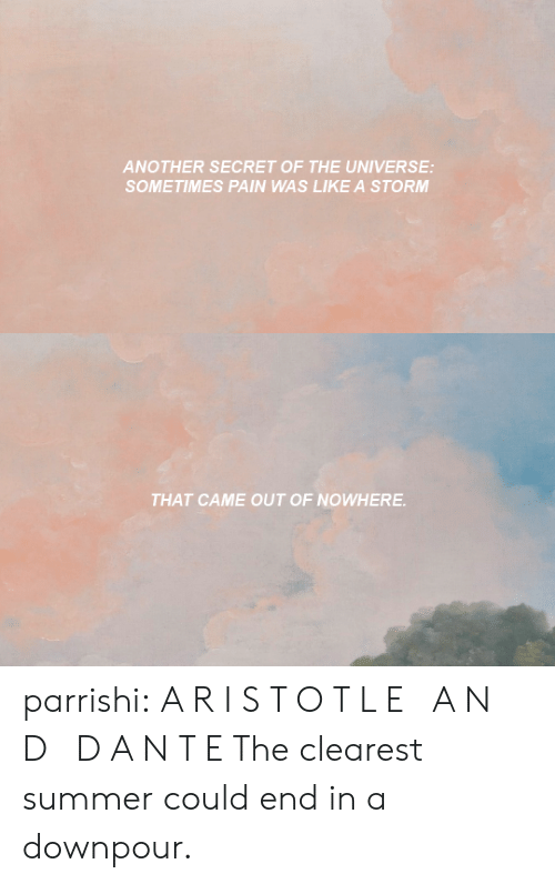 Target, Tumblr, and Summer: ANOTHER SECRET OF THE UNIVERSE:  SOMETIMES PAIN WAS LIKE A STORM   THAT CAME OUT OF NOWHERE parrishi: A R I S T O T L E A N D D A N T E The clearest summer could end in a downpour.