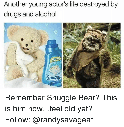 snuggle bear: Another young actor's life destroyed by  drugs and alcohol  Snuggle Remember Snuggle Bear? This is him now...feel old yet? Follow: @randysavageaf
