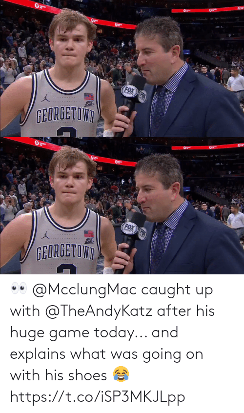 Explains What: ANS A  CUSTOM  FOX FOX  SPORTS  BIG  EAST  GEORGETOWN   CUSTOM  FOX FOX  SPORTS  BIG  GEORGETOWN 👀 @McclungMac caught up with @TheAndyKatz after his huge game today... and explains what was going on with his shoes 😂 https://t.co/iSP3MKJLpp