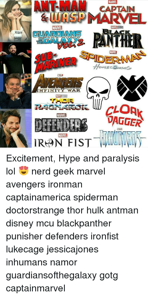 Hype, Memes, and Nerd: ANT-MAM CAPTAIN  MARVEL  LUASDMARVEL  MARVEL  DEA  MARMEN  NFINIT  WAR.  MARVEL  DAGGER  DEFENDER  MARVEL  IRAN FIST Excitement, Hype and paralysis lol 😍 nerd geek marvel avengers ironman captainamerica spiderman doctorstrange thor hulk antman disney mcu blackpanther punisher defenders ironfist lukecage jessicajones inhumans namor guardiansofthegalaxy gotg captainmarvel