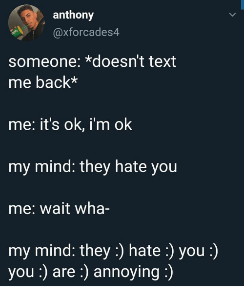 Text Me Back: anthony  axforcades4  someone: *doesn't text  me back*  me: it's ok, i'm ok  my mind: they hate you  me: wait wha-  my mind: they:) hate :) you :)  you :) are:) annoying: