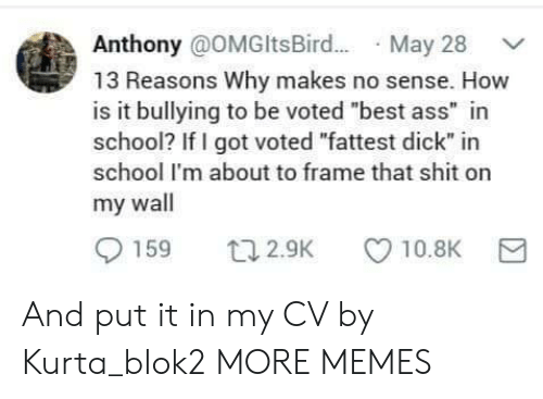 "bullying: Anthony @OMGltsBir.. May 28  13 Reasons Why makes no sense. How  is it bullying to be voted ""best ass"" in  school? If I got voted ""fattest dick"" in  school I'm about to frame that shit on  my wall  159  10.8K  t12.9K And put it in my CV by Kurta_blok2 MORE MEMES"