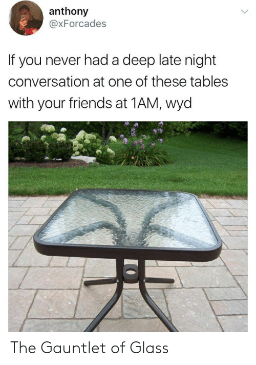 Friends, Wyd, and Never: anthony  @xForcades  If you never had a deep late night  conversation at one of these tables  with your friends at 1AM, wyd The Gauntlet of Glass
