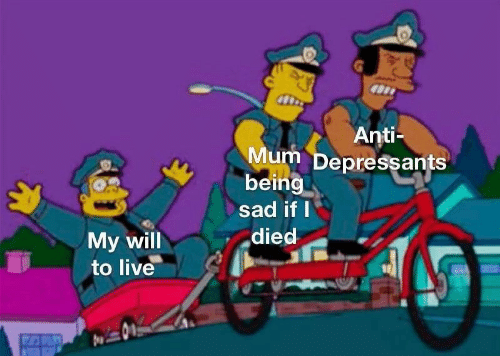 Live, Sad, and Anti: Anti-  Mum Depressants  being  sad if I  died  My will  to live