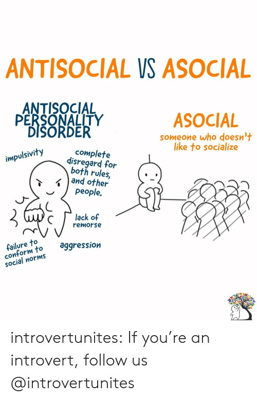Aggression: ANTISOCIAL VS ASOCIAL  ANTISOCIAL  PERSONALITY  DISORDER  ASOCIAL  someone who doesn't  like to socialize  complete  disregard for  both rules,  and other  people.  impulsivity  lack of  remorse  failure to  conform to  SOcial norms  aggression introvertunites:  If you're an introvert, follow us @introvertunites​