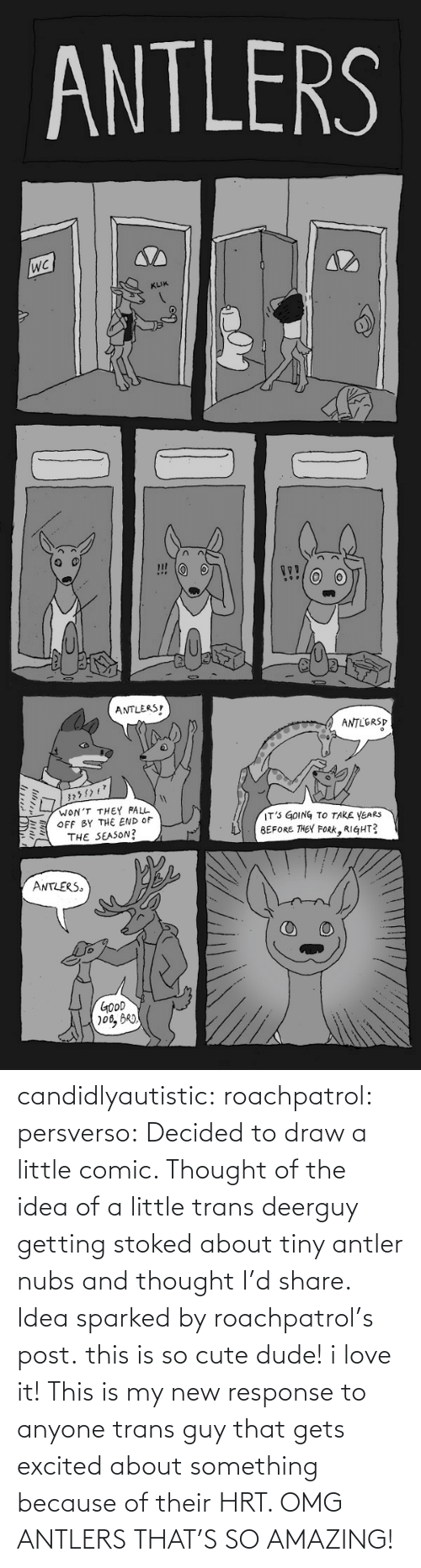 the end of the: ANTLERS  KLIK  ANTLERS  ANTLERSP  WON'T THEY FALL  OFF BY THE END OF  THE SEASON?  IT' GOING TO TAKE YEARS  BEFORE THEY FoRK, RIGHT?  ミ  ANTLERS  GOoD candidlyautistic: roachpatrol:  persverso:  Decided to draw a little comic. Thought of the idea of a little trans deerguy getting stoked about tiny antler nubs and thought I'd share. Idea sparked by roachpatrol's post.  this is so cute dude! i love it!  This is my new response to anyone trans guy that gets excited about something because of their HRT. OMG ANTLERS THAT'S SO AMAZING!