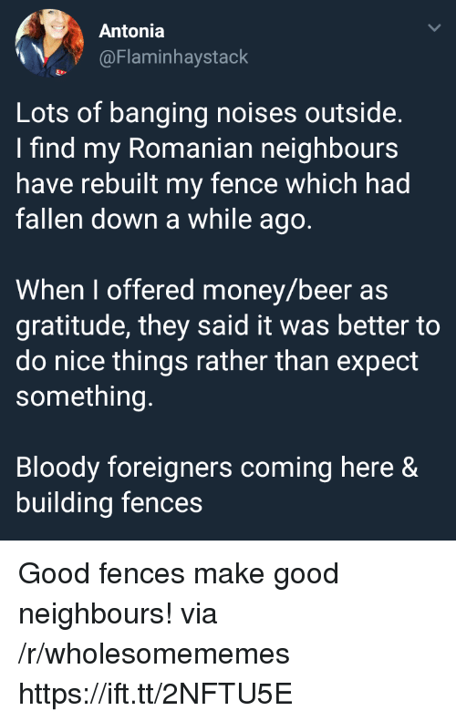 Fences: Antonia  @Flaminhaystack  Lots of banging noises outside  I find my Romanian neighbours  have rebuilt my fence which had  fallen down a while ago  When I offered money/beer as  gratitude, they said it was better to  do nice things rather than expect  something  Bloody foreigners coming here &  building fences Good fences make good neighbours! via /r/wholesomememes https://ift.tt/2NFTU5E