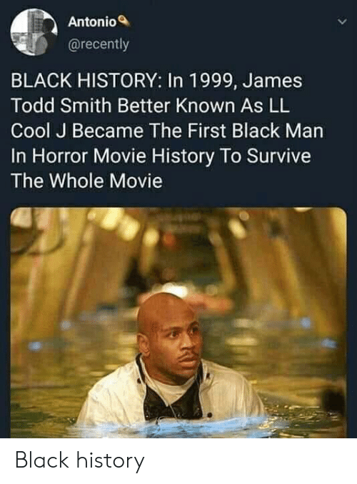 Black, Cool, and History: Antonio  @recently  BLACK HISTORY: In 1999, James  Todd Smith Better Known As LL  Cool J Became The First Black Man  In Horror Movie History To Survive  The Whole Movie Black history