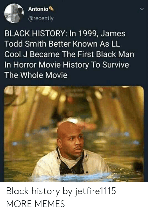 Dank, Memes, and Target: Antonio  @recently  BLACK HISTORY: In 1999, James  Todd Smith Better Known As LL  Cool J Became The First Black Man  In Horror Movie History To Survive  The Whole Movie Black history by jetfire1115 MORE MEMES