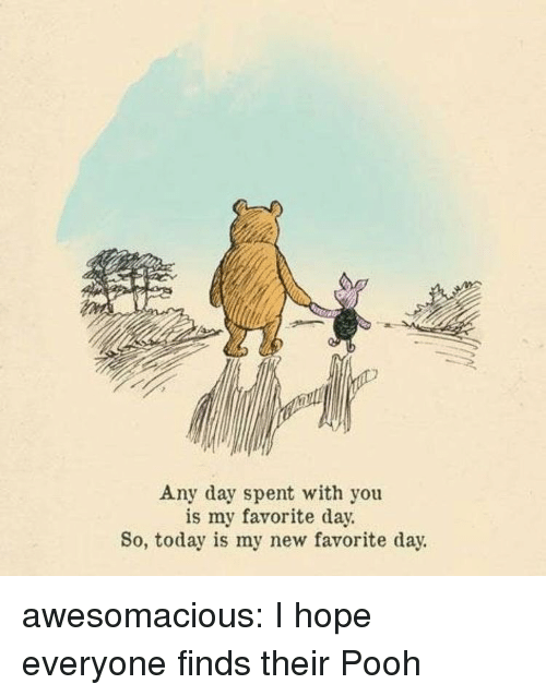 Tumblr, Blog, and Http: Any day spent with you  is my favorite day.  So, today is my new favorite day. awesomacious:  I hope everyone finds their Pooh