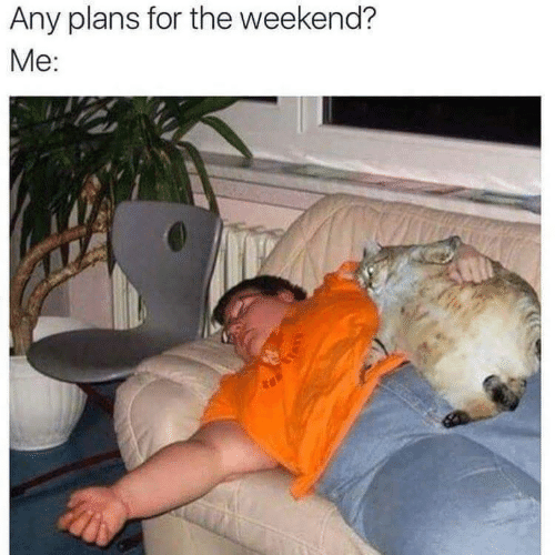 Any Plans: Any plans for the weekend?  Me: