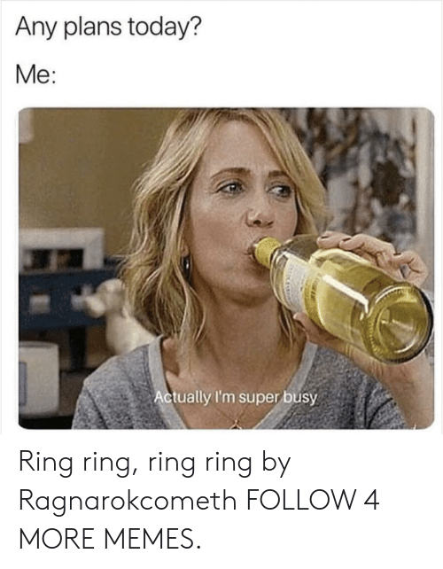 Any Plans: Any plans today?  Me:  Actually I'm super busy Ring ring, ring ring by Ragnarokcometh FOLLOW 4 MORE MEMES.