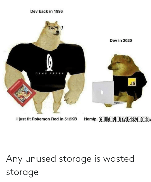 wasted: Any unused storage is wasted storage
