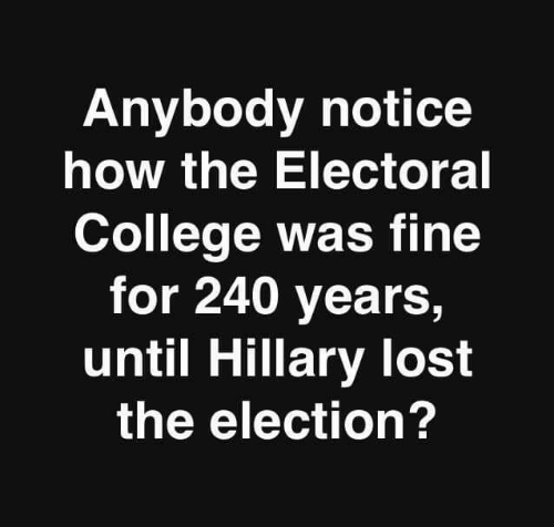 hillary: Anybody notice  how the Electoral  College was fine  for 240 years,  until Hillary lost  the election?