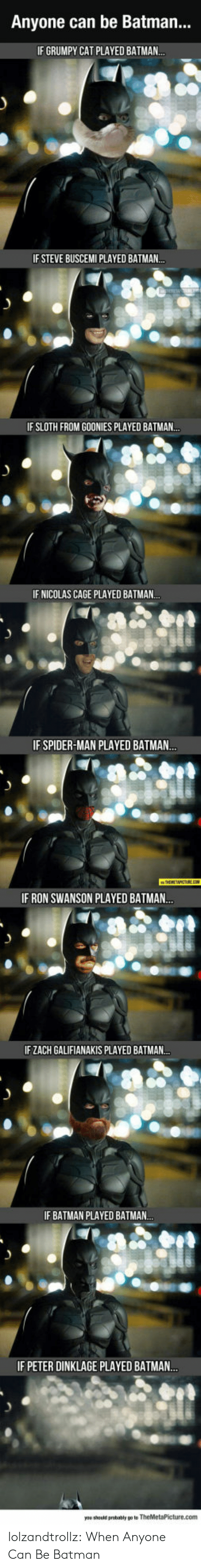 Batman, Nicolas Cage, and Ron Swanson: Anyone can be Batman...  IF GRUMPY CAT PLAYED BATMAN..  IF STEVE BUSCEMI PLAYED BATMAN..  IF SLOTH FROM GOONIES PLAYED BATMAN..  IF NICOLAS CAGE PLAYED BATMAN..  IF SPIDER-MAN PLAYED BATMAN...  IF RON SWANSON PLAYED BATMAN..  IF ZACH GALIFIANAKIS PLAYED BATMAN..  IF BATMAN PLAYED BATMAN.  IF PETER DINKLAGE PLAYED BATMA..  you should probably po to TheMetaPicture.com lolzandtrollz:  When Anyone Can Be Batman