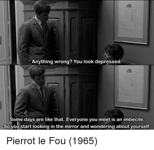 Memes, Mirror, and 🤖: Anything wrong  You look depressed.  Some days are like that..Everyone you meet is an imbecile.  So you start looking in the mirror and wondering about yourself. Pierrot le Fou (1965)