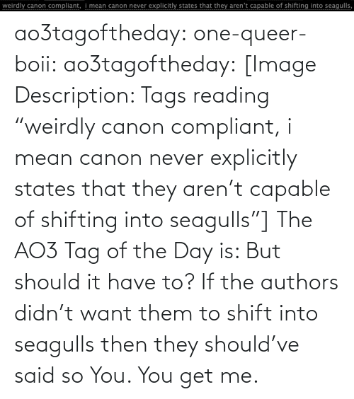 "tags: ao3tagoftheday:  one-queer-boii:  ao3tagoftheday:  [Image Description: Tags reading ""weirdly canon compliant, i mean canon never explicitly states that they aren't capable of shifting into seagulls""]  The AO3 Tag of the Day is: But should it have to?   If the authors didn't want them to shift into seagulls then they should've said so  You. You get me."