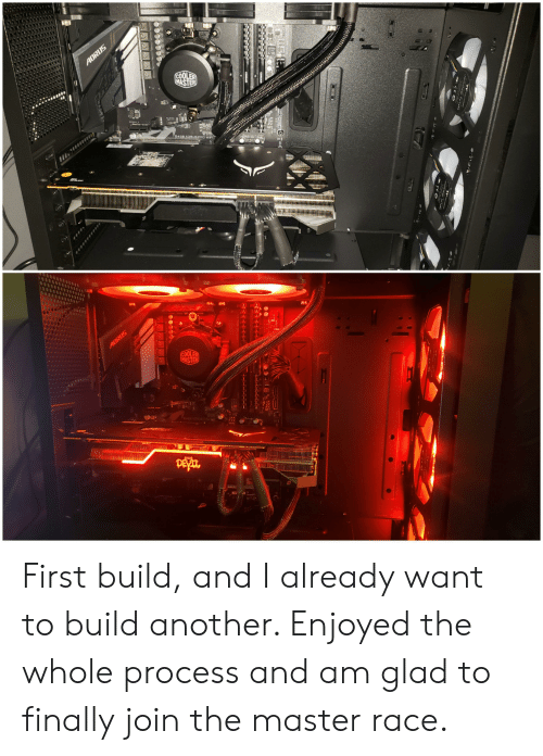 Wifi, Pro, and Race: AORUS  COOLER  MASTER  KICKL  0105  8456 ADRUS PRO WIFI  ADRUS  COOLER  MASTER  PEYATO  WED First build, and I already want to build another. Enjoyed the whole process and am glad to finally join the master race.