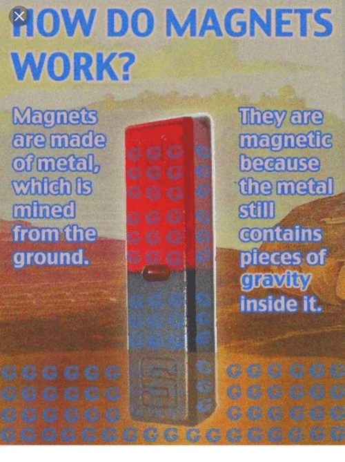 Work, Gravity, and Physical Physics: AOW DO MAGNETS  WORK?  Magnets  They are  are made  magnetic  of metal,  because  which is  the metal  mined  still  from the  contains  ground.  pieces of  gravity  inside it.