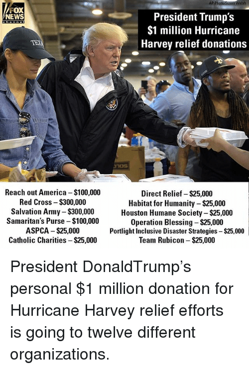Humane Society: AP Photo/Susan Walsh  FOX  President Trump's  $1 million Hurricane  Harvey relief donations  NEWS  channe  Reach out America $100,000  Red Cross - $300,000  Salvation Army $300,000  Samaritan's Purse -$100,000  ASPCA $25,000  Catholic Charities - $25,000  Direct Relief- $25,000  Habitat for Humanity-$25,000  Houston Humane Society - $25,000  Operation Blessing $25,000  Portlight Inclusive Disaster Strategies $25,000  Team Rubicon- $25,000 President DonaldTrump's personal $1 million donation for Hurricane Harvey relief efforts is going to twelve different organizations.