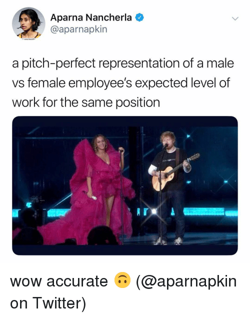Memes, Twitter, and Wow: Aparna Nancherla  @aparnapkin  www.keviithe  a pitch-perfect representation of a male  vs female employee's expected level of  work for the same position wow accurate 🙃 (@aparnapkin on Twitter)