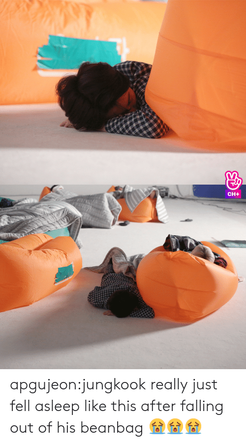 Tumblr, Blog, and Http: apgujeon:jungkook really just fell asleep like this after falling out of his beanbag 😭😭😭