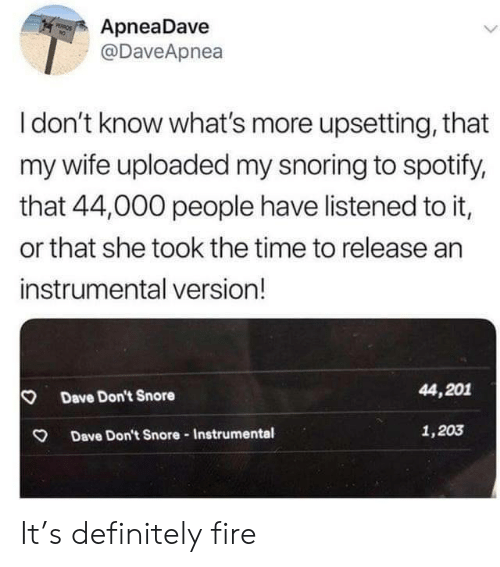 Know Whats: ApneaDave  @DaveApnea  PEROS  Idon't know what's more upsetting, that  my wife uploaded my snoring to spotify,  that 44,000 people have listened to it,  or that she took the time to release an  instrumental version!  44,201  Dave Don't Snore  1,203  Dave Don't Snore-Instrumental It's definitely fire