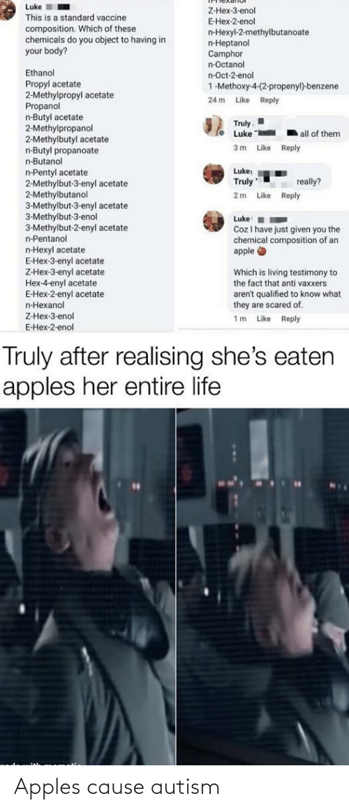 Cause: Apples cause autism