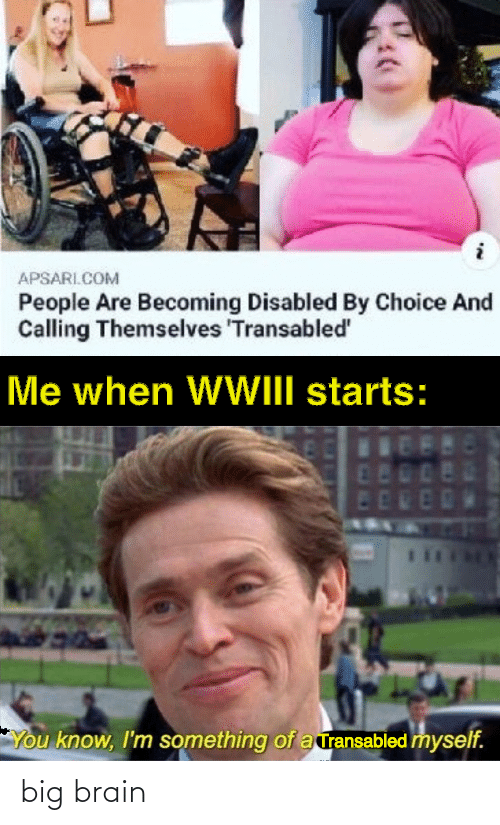 Becoming: APSARI.COM  People Are Becoming Disabled By Choice And  Calling Themselves 'Transabled'  Me when WWIII starts:  480  ED  You know, I'm something of a ransabled myself. big brain