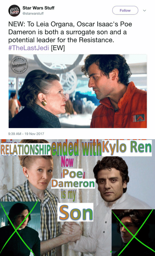 Poe Dameron: AR Star Wars Stuff  S @starwarstuff  WAR  Follow  NEW: To Leia Organa, Oscar lsaac's Poe  Dameron is both a surrogate son and a  potential leader for the Resistance  #TheLastJedi [EWI  Entertainment  CLUS  9:39 AM 19 Nov 2017   RELATIONSHIPended withkylo Ren  Dameron  is m  Son