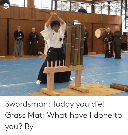 What Have I Done: ar Swordsman: Today you die! Grass Mat: What have I done to you?  By 藁斬り抜刀斎