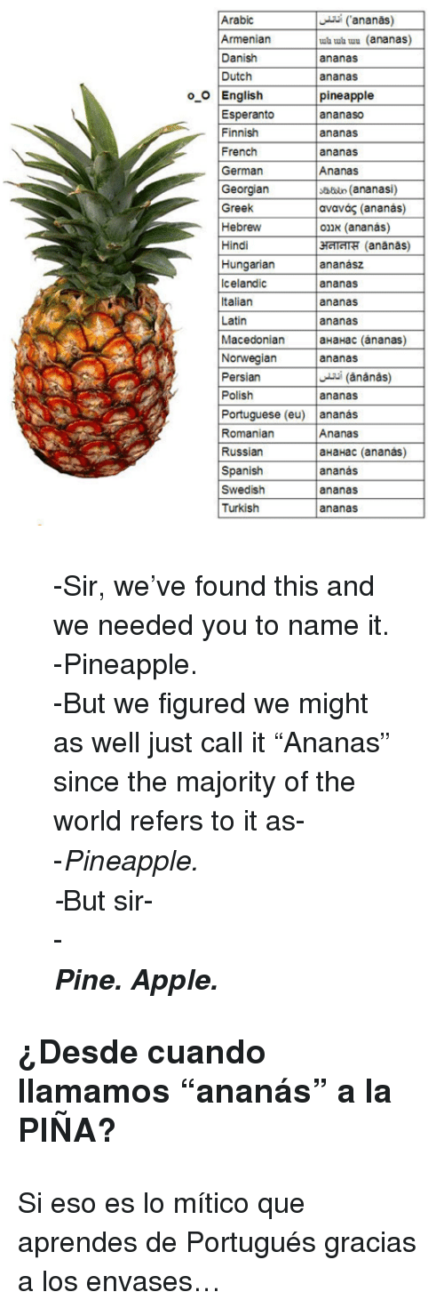 "Georgian: Arabic  Armeniar  Danish  Dutch  ananas)  ub ub uu (ananas)  ananas  ananas  pineapple  ananaso  ananas  ananas  oO English  Esperanto  Finnish  French  German  Georgian  Greek  Hebrew  Hindi  Hungarian  Icelandic  Italian  Latin  sbdun (ananasi)  ανανάς (ananás)  אננס (ananás)  затт"" (ananas)  ananász  ananas  ananas  ananas  Macedonian aHaHac (ánanas)  Norwegianananas  Persian  Polish  ananas  Portuguese (eu) ananas  Romaniarn  Russian  Spanish  Swedish  Turkish  Ananas  aHaHac (ananas)  ananás  ananas  ananas <blockquote> <p>-Sir, we've found this and we needed you to name it.</p> <p>-Pineapple.</p> <p>-But we figured we might as well just call it ""Ananas"" since the majority of the world refers to it as-</p> <p>-<em>Pineapple.</em></p> <p><em>-</em>But sir-</p> <div>-</div> <div><strong><em>Pine. Apple.</em></strong></div> </blockquote> <h3>¿Desde cuando llamamos &ldquo;ananás&rdquo; a la PIÑA? </h3> <p>Si eso es lo mítico que aprendes de Portugués gracias a los envases&hellip;</p>"