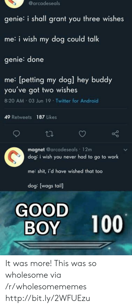 Android, Shit, and Twitter: @arcadeseals  genie: i shall grant you three wishes  me: i wish my dog could talk  genie: done  me [petting my dog] hey buddy  you've got two wishes  8:20 AM 03 Jun 19 Twitter for Android  49 Retweets  187 Likes  magnet @arcadeseals 12m  dog: i wish you never had to go to work  me: shit, i'd have wished that too  dog: [wags tail]  GOOD  BOY  100 It was more! This was so wholesome via /r/wholesomememes http://bit.ly/2WFUEzu
