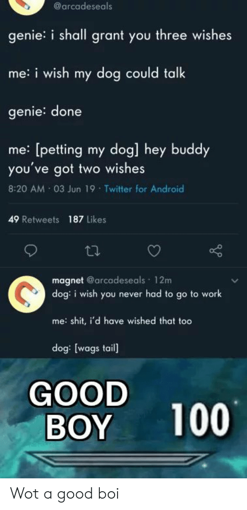 petting: @arcadeseals  genie: i shall grant you three wishes  me:i wish my dog could talk  genie: done  me: [petting my dog] hey buddy  you've got two wishes  8:20 AM 03 Jun 19 Twitter for Android  49 Retweets 187 Likes  magnet @arcadeseals 12m  dog: i wish you never had to go to work  me: shit, i'd have wished that too  dog: [wags tail]  GOOD  BOY  100 Wot a good boi