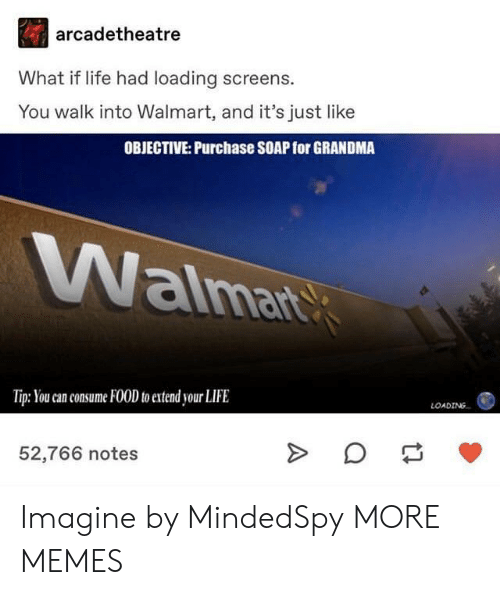 Dank, Food, and Grandma: arcadetheatre  What if life had loading screens.  You walk into Walmart, and it's just like  OBJECTIVE: Purchase SOAP for GRANDMA  aima  Tip: You can consume FOOD to extend your LIFE  LOADING  52,766 notes Imagine by MindedSpy MORE MEMES
