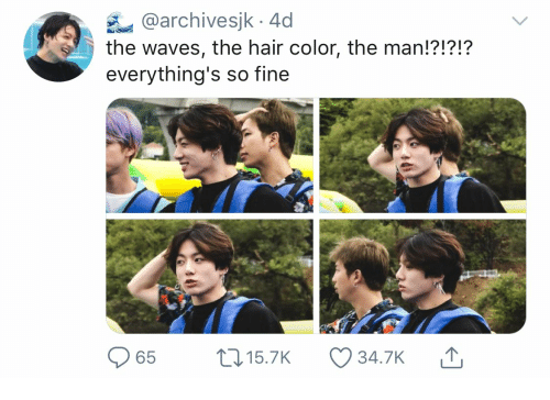 Waves: @archivesjk 4d  the waves, the hair color, the man!?!?!?  everything's so fine  L15.7K  65  34.7K