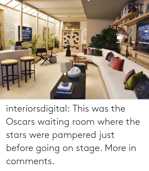 Pampered: ARCHTECTUR  GREEN  THCTURAL DIEST  EENROOM  ATHE OSCARS  ATTHE OSC  CEED COMMUNE JUL interiorsdigital:  This was the Oscars waiting room where the stars were pampered just before going on stage. More in comments.