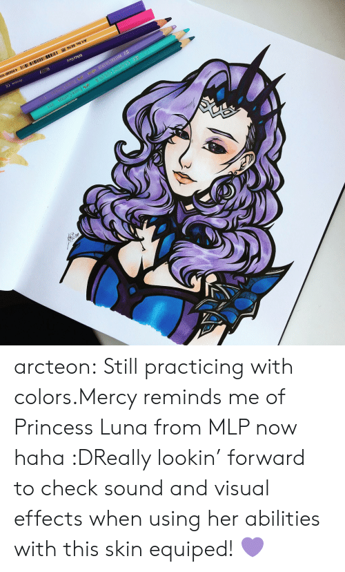 luna: arcteon:  Still practicing with colors.Mercy reminds me of   Princess Luna from MLP now haha :DReally lookin' forward to check sound and visual effects when using her abilities with this skin equiped! 💜