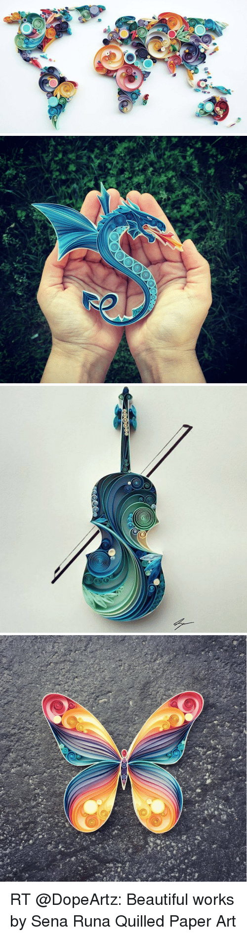 paper art: are a  69   O RT @DopeArtz: Beautiful works by Sena Runa Quilled Paper Art
