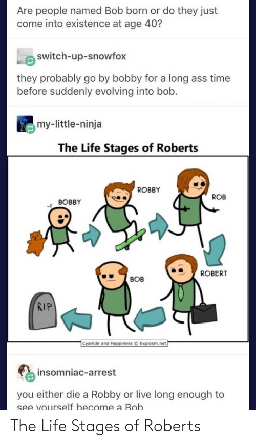 roberts: Are people named Bob born or do they just  come into existence at age 40?  switch-up-snowfox  they probably go by bobby for a long ass time  before suddenly evolving into bob.  my-little-ninja  The Life Stages of Roberts  ROBBY  ROB  BOBBY  ROBERT  BOB  RIP  Cyanide and Happiness  Explosm.net  insomniac-arrest  you either die a Robby or live long enough to  se  e vourself become a Bob The Life Stages of Roberts
